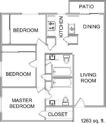 1,263 sq. ft. floor plan