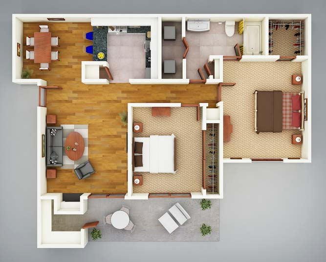 914 sq. ft. B1 Sabal floor plan