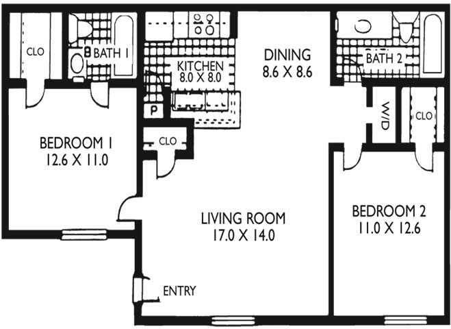 888 sq. ft. B2 floor plan
