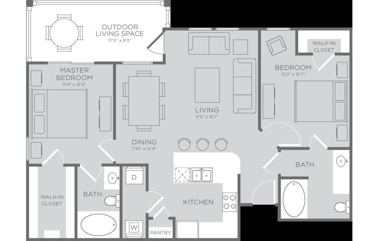 1,043 sq. ft. Marina floor plan