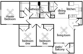 1,281 sq. ft. 60% floor plan