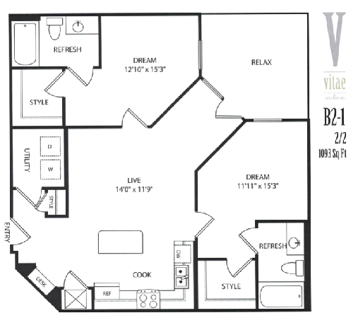1,093 sq. ft. Furnished floor plan