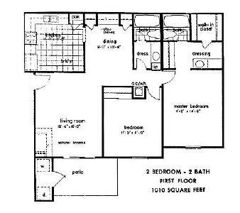1,010 sq. ft. floor plan