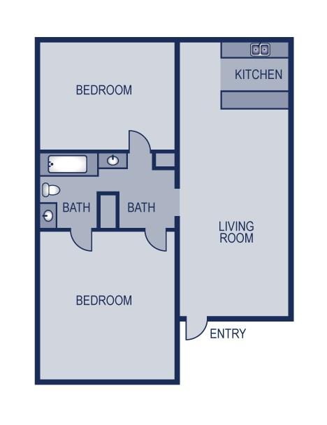 942 sq. ft. 2/1 floor plan