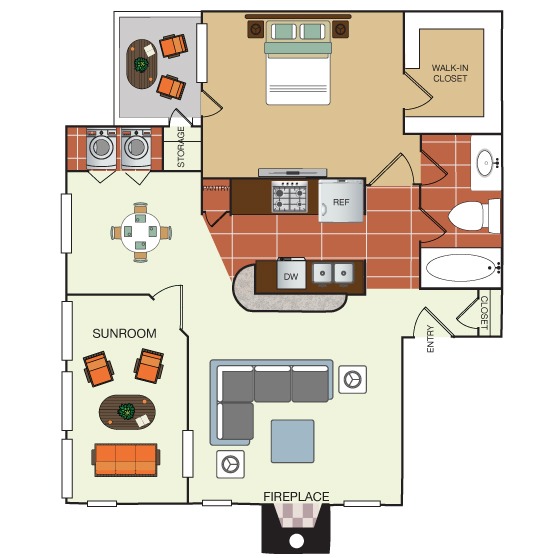 845 sq. ft. 1M floor plan