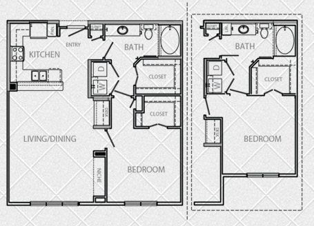 824 sq. ft. to 889 sq. ft. E floor plan