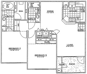 1,042 sq. ft. G/60% floor plan