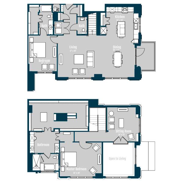 2,700 sq. ft. PH4 floor plan