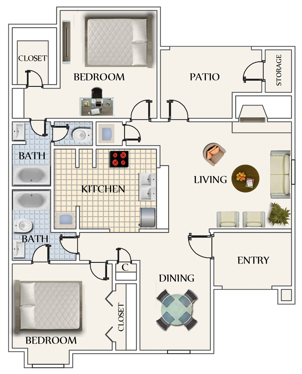 986 sq. ft. B2 floor plan