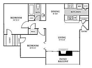 826 sq. ft. B1 floor plan