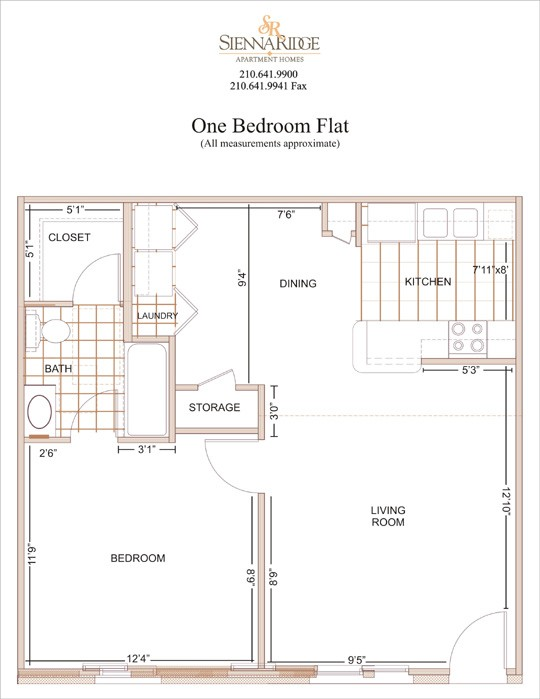 700 sq. ft. Del Mar floor plan