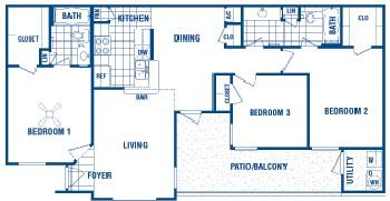 1,119 sq. ft. Cody floor plan