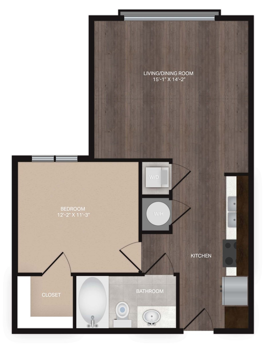 615 sq. ft. S1Alt2 floor plan