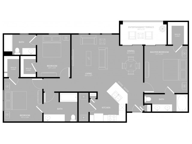 1,408 sq. ft. District floor plan