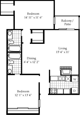 1,061 sq. ft. B1 floor plan