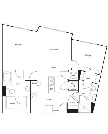 971 sq. ft. floor plan
