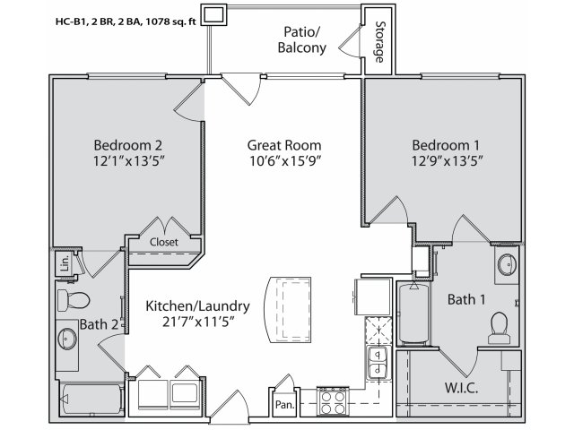 1,002 sq. ft. HC-B1 floor plan
