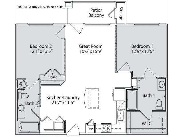 1,002 sq. ft. HC-B1 floor plan