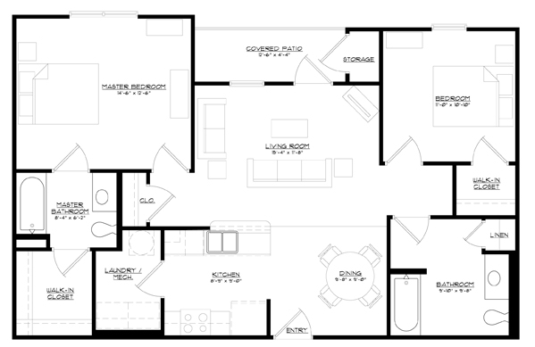 1,038 sq. ft. 30% floor plan