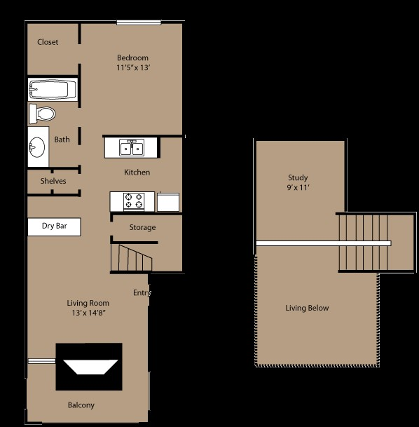 954 sq. ft. to 971 sq. ft. B2 floor plan