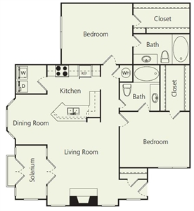 1,258 sq. ft. Ds floor plan