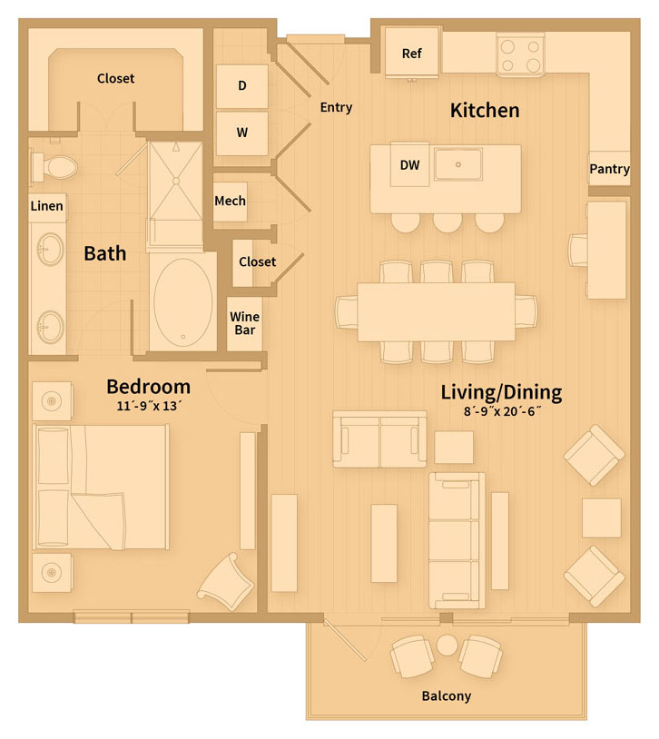 974 sq. ft. B3 floor plan