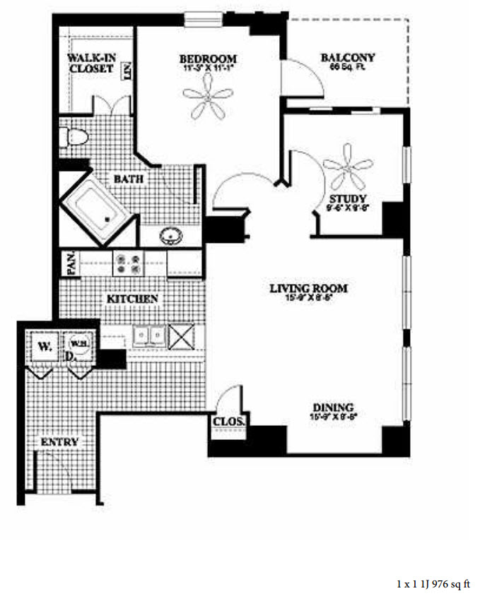 976 sq. ft. 1J floor plan