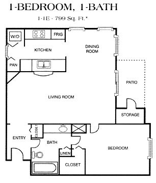 799 sq. ft. 1-1E floor plan