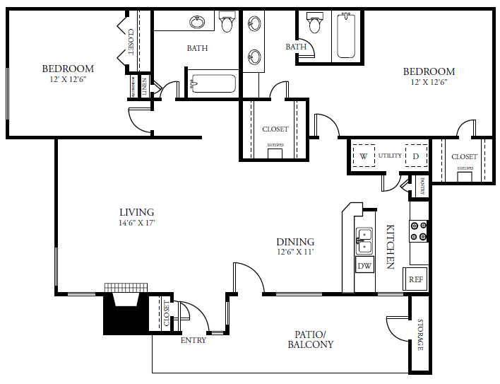1,178 sq. ft. B3 floor plan