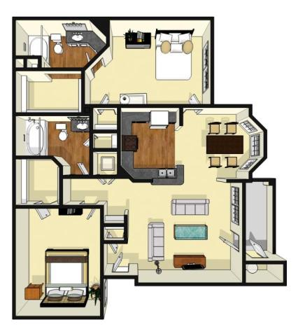 1,067 sq. ft. Eden floor plan