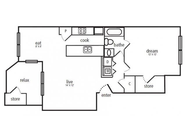 655 sq. ft. A-2 floor plan