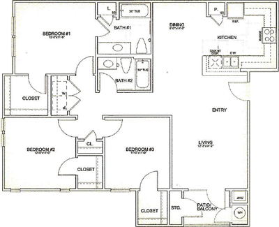 1,290 sq. ft. 30% floor plan