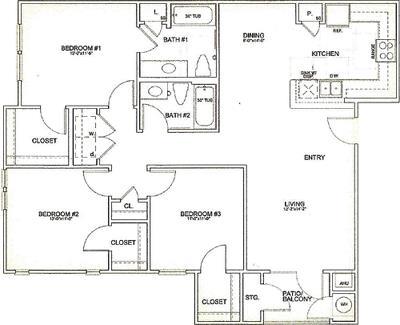 1,290 sq. ft. 30% floor plan