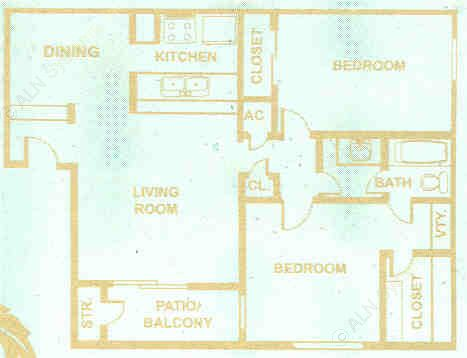 948 sq. ft. floor plan
