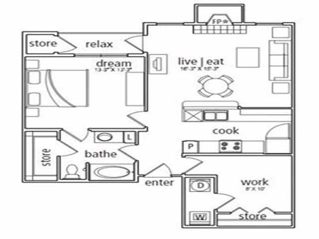 902 sq. ft. Milan floor plan
