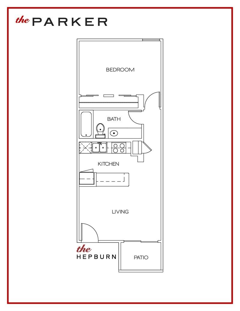 524 sq. ft. Hepburn floor plan