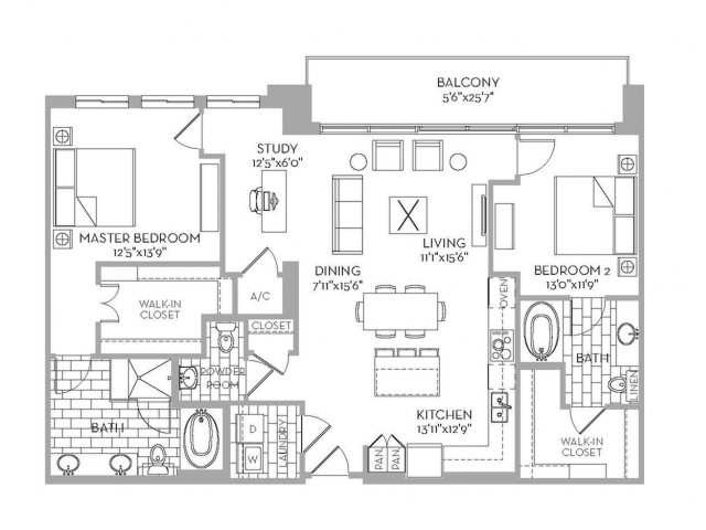 1,493 sq. ft. Preston(B.1) floor plan