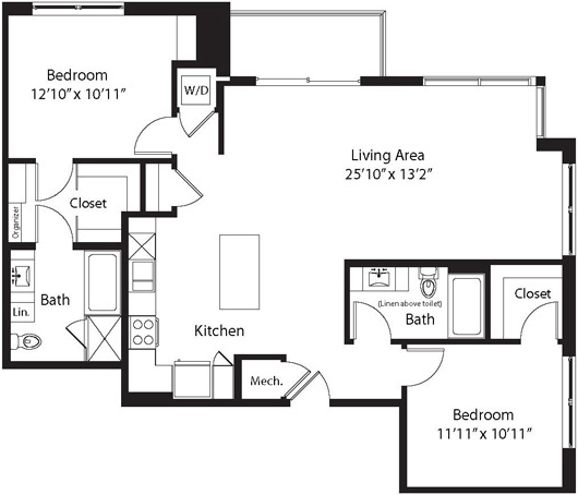 1,248 sq. ft. LB floor plan