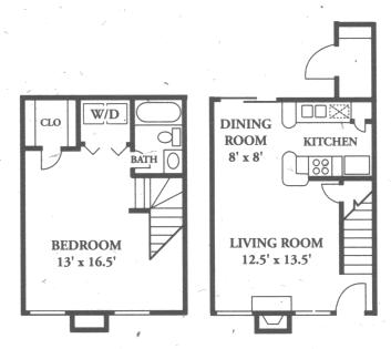 748 sq. ft. A6 floor plan