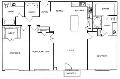 1,428 sq. ft. Elegant floor plan