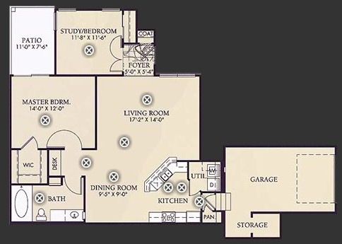 1,028 sq. ft. B1 floor plan