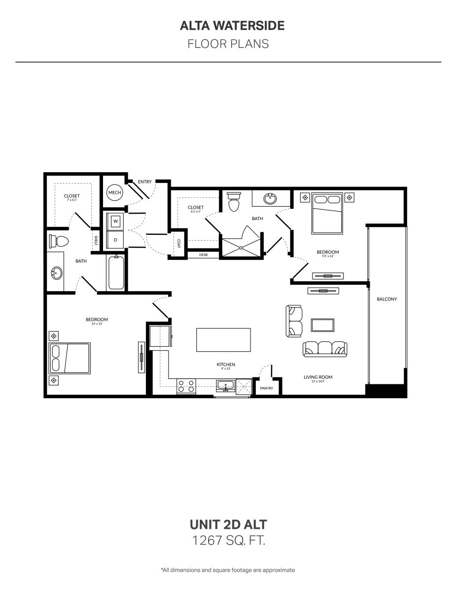 1,267 sq. ft. 2D Alt floor plan