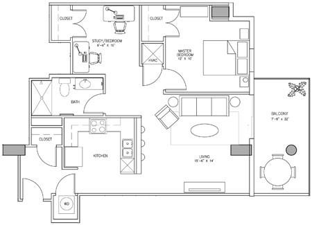 959 sq. ft. Y floor plan
