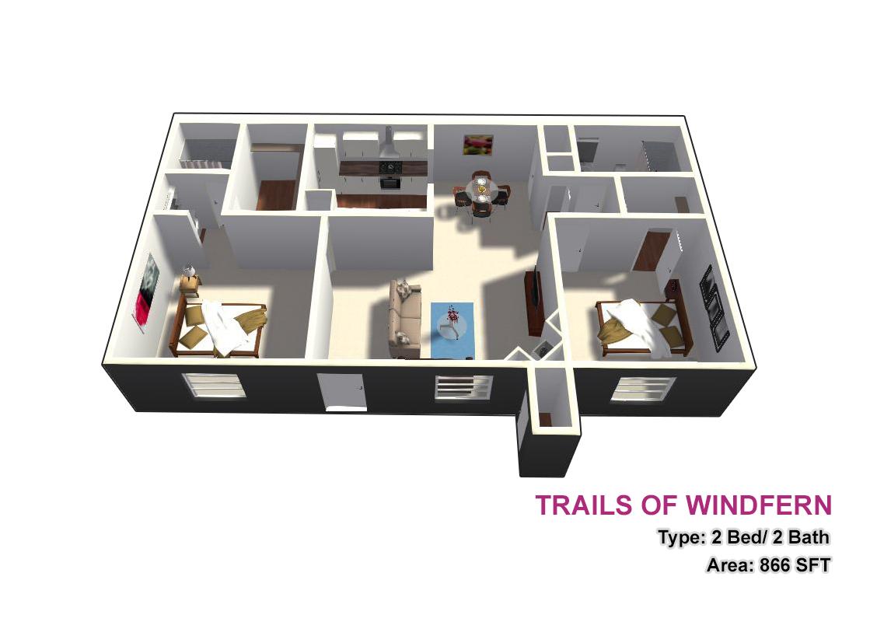 866 sq. ft. 2X2 floor plan