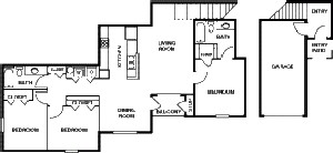 1,432 sq. ft. 60% floor plan