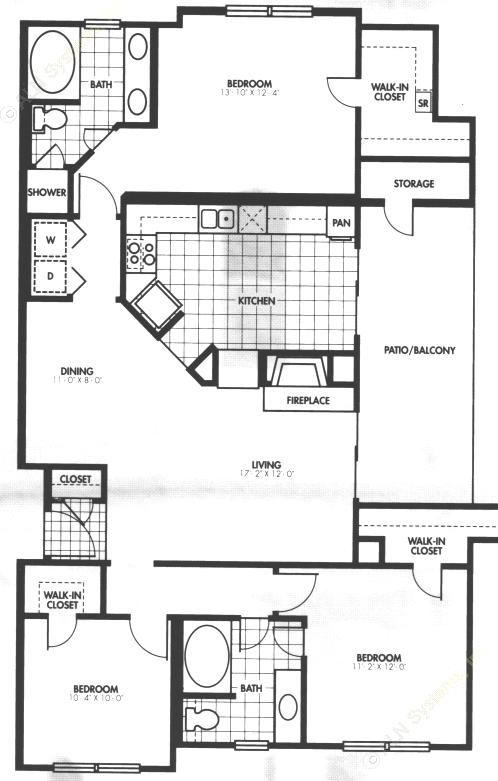 1,384 sq. ft. C1 floor plan