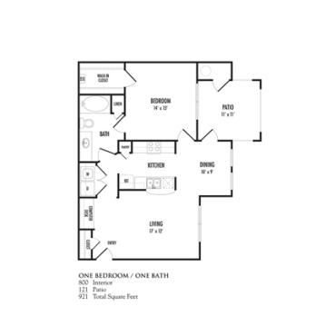 800 sq. ft. Genova floor plan