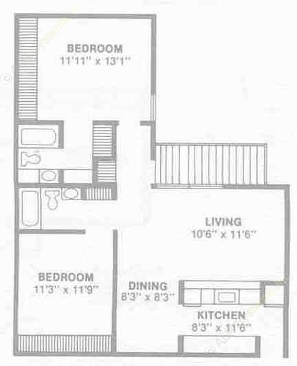 987 sq. ft. B4 floor plan