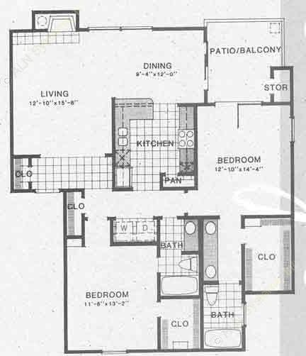 1,208 sq. ft. B3 floor plan