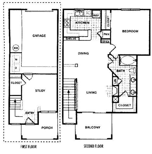998 sq. ft. Hawthorn C floor plan